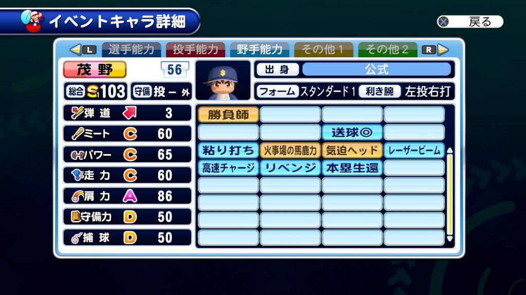 公式コラボの茂野吾郎の野手能力