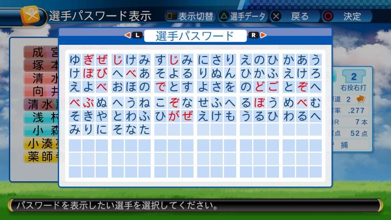 パワプロ2016再現の瀧川クリス優のパスワード