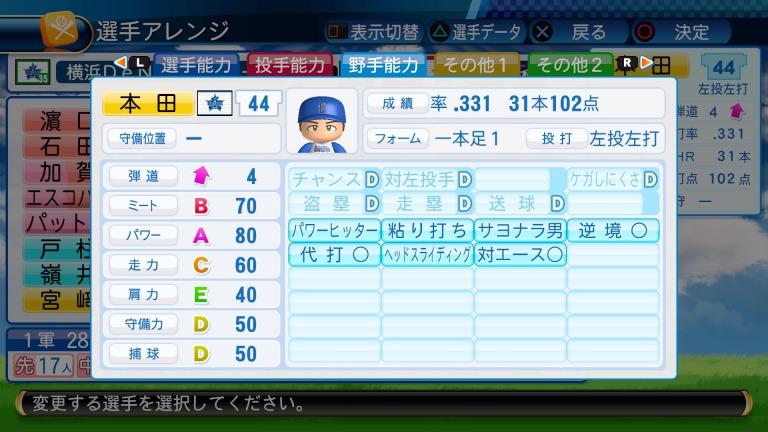 本田茂治の野手能力